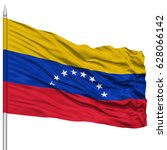 venezuela flag on flagpole  ... | Shutterstock . vector #628066142