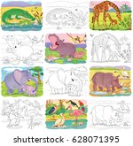 at the zoo. set of cute animals.... | Shutterstock . vector #628071395