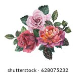 hand painted watercolor... | Shutterstock . vector #628075232