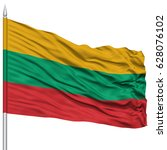 lithuania flag on flagpole  ... | Shutterstock . vector #628076102
