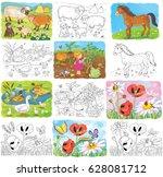 at the farm. set of cute farm... | Shutterstock . vector #628081712