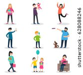 happy people collection with... | Shutterstock .eps vector #628088246