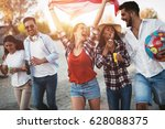 happy group of young friends ... | Shutterstock . vector #628088375