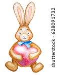 watercolor rabbit with heart.... | Shutterstock . vector #628091732