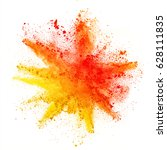 explosion of colored powder ... | Shutterstock . vector #628111835