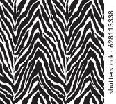 Stock vector black and white zebra print seamless background 628113338