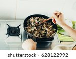 the process of cooking the... | Shutterstock . vector #628122992