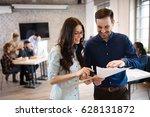 corporate team working... | Shutterstock . vector #628131872