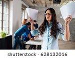 overworked stressful... | Shutterstock . vector #628132016