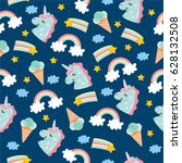 seamless pattern with cute...   Shutterstock .eps vector #628132508
