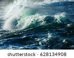Big Stormy Ocean Wave. Blue...