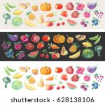 rainbow vegetables and fruits.... | Shutterstock .eps vector #628138106