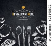 restaurant menu design. vector... | Shutterstock .eps vector #628140872