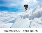good skiing in the snowy... | Shutterstock . vector #628140875