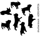 set of vector silhouettes of a... | Shutterstock .eps vector #628140926