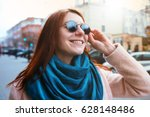 red haired beautiful stylish... | Shutterstock . vector #628148486