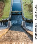 Small photo of Looking down from top of Claerwen Dam in the Elan Valley of Wales, UK.