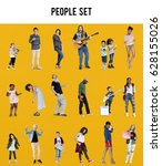 diverse of people enjoy music... | Shutterstock . vector #628155026