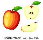 red apples with green leaves... | Shutterstock .eps vector #628162556