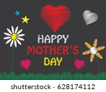happy mothers day. hand drawn... | Shutterstock .eps vector #628174112