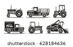 farm transport  set icons.... | Shutterstock .eps vector #628184636