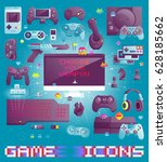 video game icons set. flat... | Shutterstock .eps vector #628185662