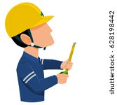worker is measuring with tape... | Shutterstock .eps vector #628198442
