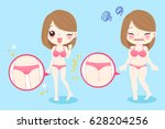 cute cartoon woman with thigh... | Shutterstock .eps vector #628204256
