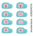 cloud faces collection | Shutterstock .eps vector #628204376
