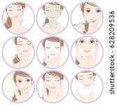 women who do skin care | Shutterstock .eps vector #628209536