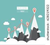vector flat flag on mountain.... | Shutterstock .eps vector #628219322