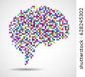 abstract human brain of pixels. ... | Shutterstock .eps vector #628245302