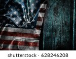 usa flag on a wood surface   Shutterstock . vector #628246208