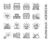Treasure Chest Line Icon Set