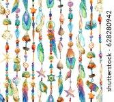 watercolor jewellery with sea... | Shutterstock . vector #628280942