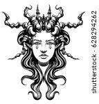 strange demon girl  with... | Shutterstock .eps vector #628294262