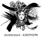 strange demon girl  with... | Shutterstock .eps vector #628294298