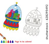 space town to be colored  the... | Shutterstock .eps vector #628295492