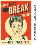 advertising coffee retro poster ... | Shutterstock .eps vector #628301696