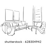 hand drawn room interior sketch.... | Shutterstock .eps vector #628304942