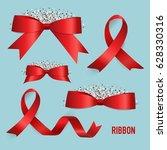 shiny red ribbon. vector... | Shutterstock .eps vector #628330316