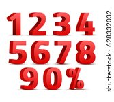set of 3d red numbers sign. 3d... | Shutterstock .eps vector #628332032