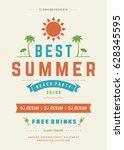 retro summer party design... | Shutterstock .eps vector #628345595