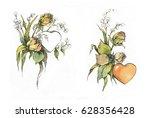 flowers roses watercolor   Shutterstock . vector #628356428