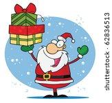 Jolly Christmas Santa Holding...