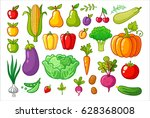 vector set with vegetables. a... | Shutterstock .eps vector #628368008