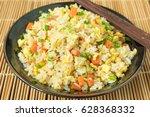 fried rice include egg carrot... | Shutterstock . vector #628368332