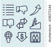 set of 9 down outline icons...