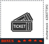 ticket icon flat. simple... | Shutterstock . vector #628377392