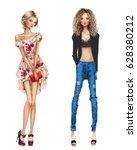 two fashion girls  | Shutterstock . vector #628380212
